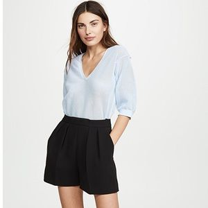 Theory Black Wool Pleated Shorts